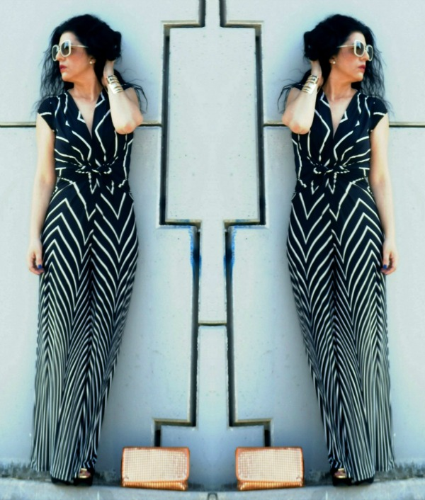 Black And White Stripes Jumpsuit