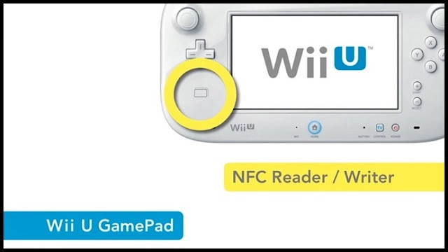 Image of Wii U GamePad with NFC Reader/Writer highlighted