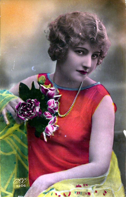 1920s postcard #20s #fashion #1920s #postcard #red