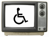 photo of an old-style television set with the wheelchair symbol on the screen