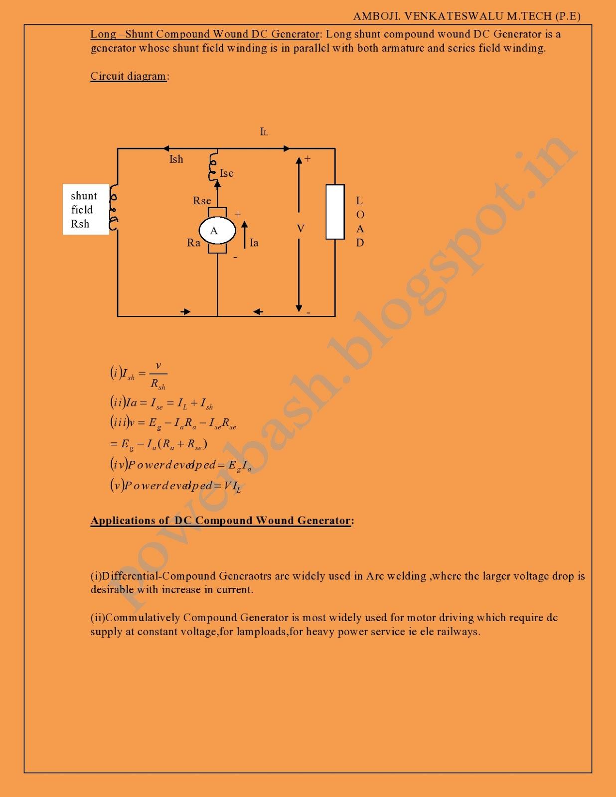 Dc Generatorsemf Equationtypesadvantagesapplications Venkat Compound Generator Circuit Diagram Characteristics