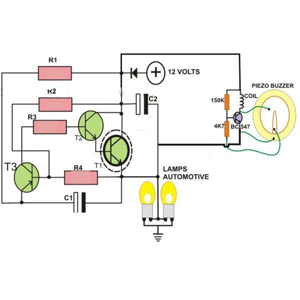 Wiring Diagram For Indicator Buzzer : Pin automobile indicator lamp flasher circuit with