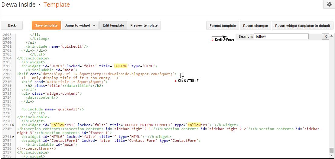CTRL+F di Kotak Edit HTML