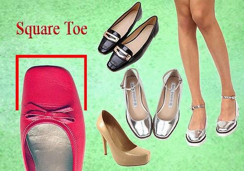 Bagian Depan Sepatu Wanita, Square Toe