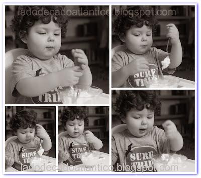 Imagens do Miguel brincando com o sorvete