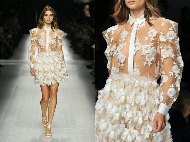Blumarine 2014 SS Editorail: Sheer White Shirt With Rose Embellishments