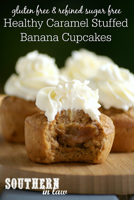 Gluten Free Caramel Stuffed Banana Cupcakes Recipe | low fat, gluten free, healthy, sugar free, high protein, clean eating friendly, low carb