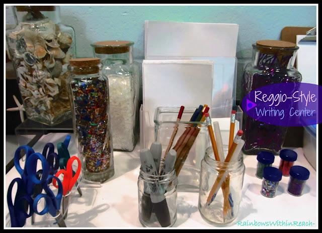 "photo of: ""Reggio"" Classroom Writing Center of Materials via PreK+K Sharing"