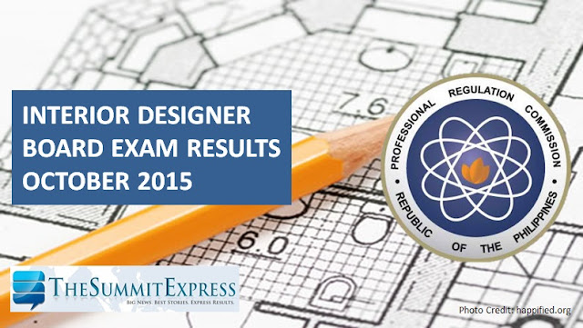 October 2015 Interior Design board exam results