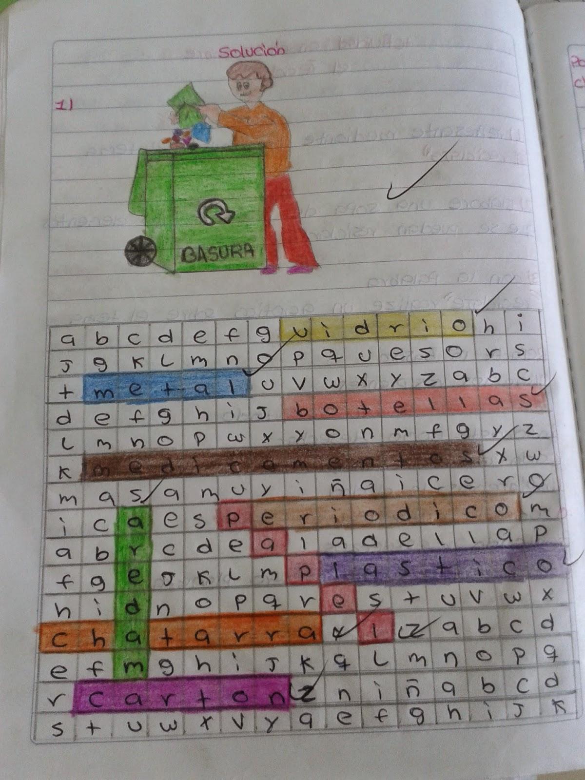 un dibujo, una sopa de letras y un acróstico sobre el reciclaje