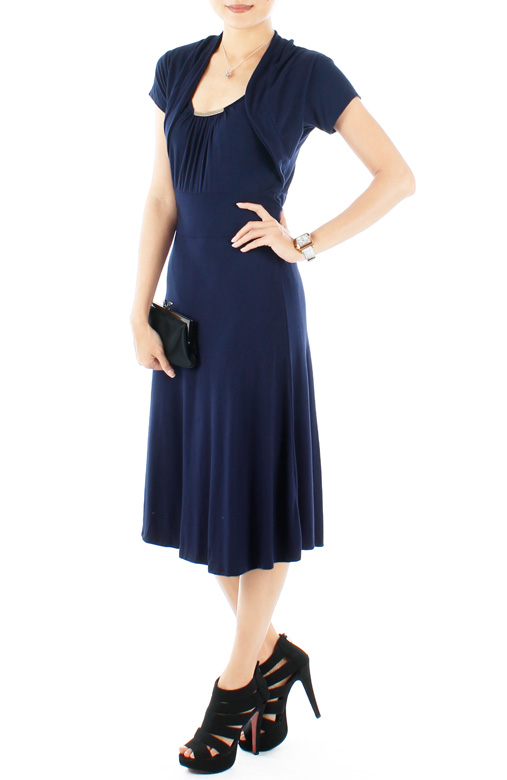 Midnight Graceful Flare Knee Length Dress with Crop Cardi