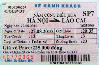 Billete de tren a Sapa