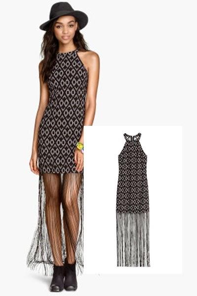 Vestido com franjas  H&M - tendencia primavera verão 2015