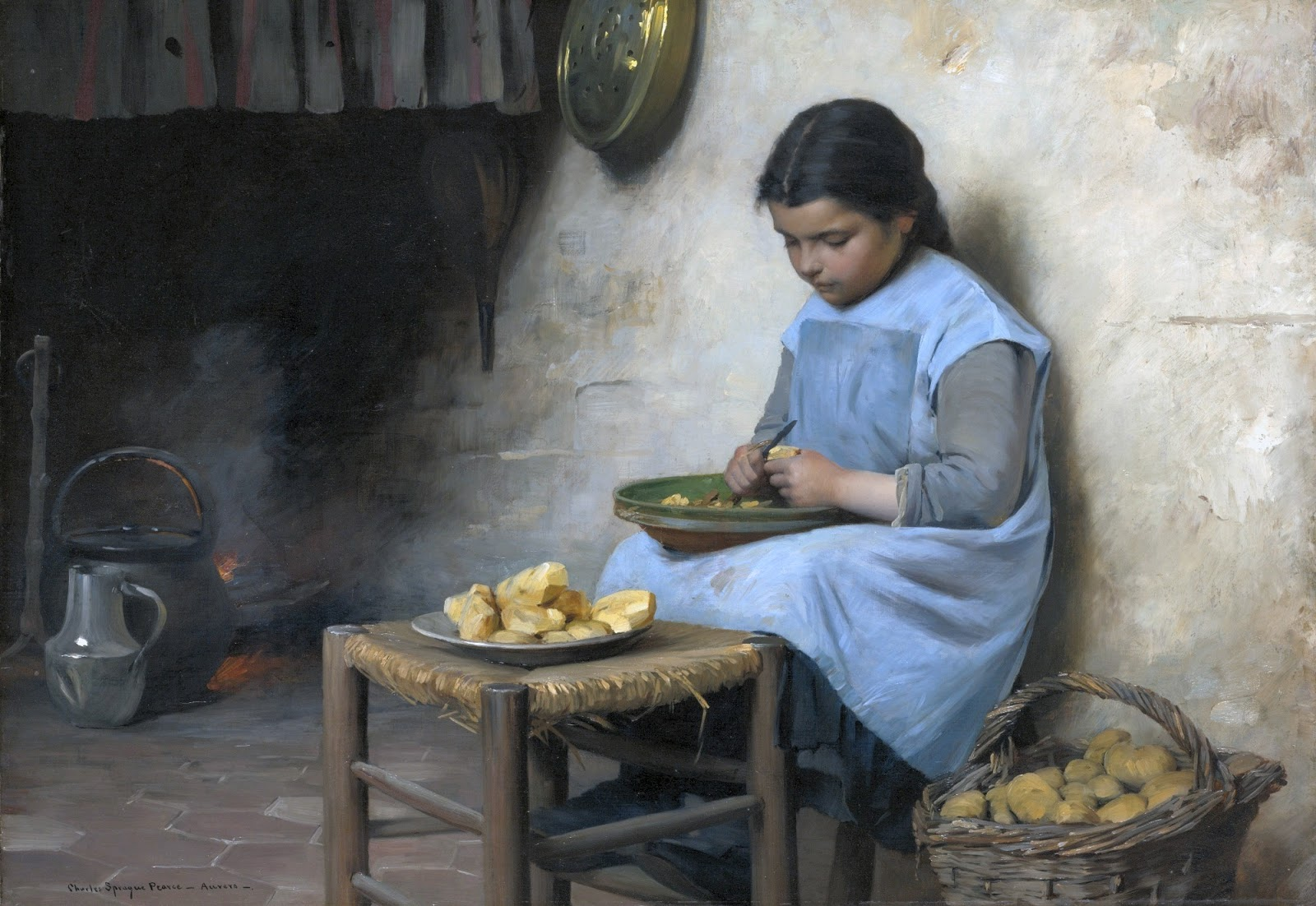 Charles  Sprague  Pearce  peeling  potatoes