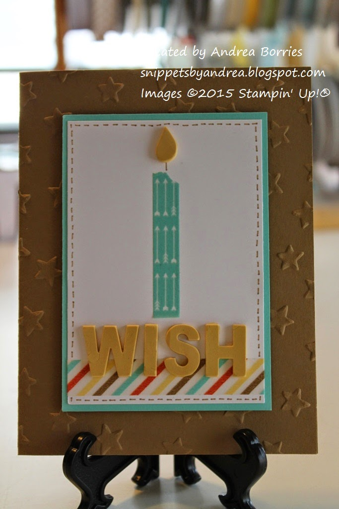 "Birthday card featuring a washi tape candle and ""wish"" greeting made with Simply Pressed Clay."