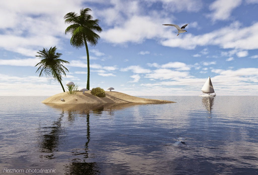 small island 3d graphic landscape