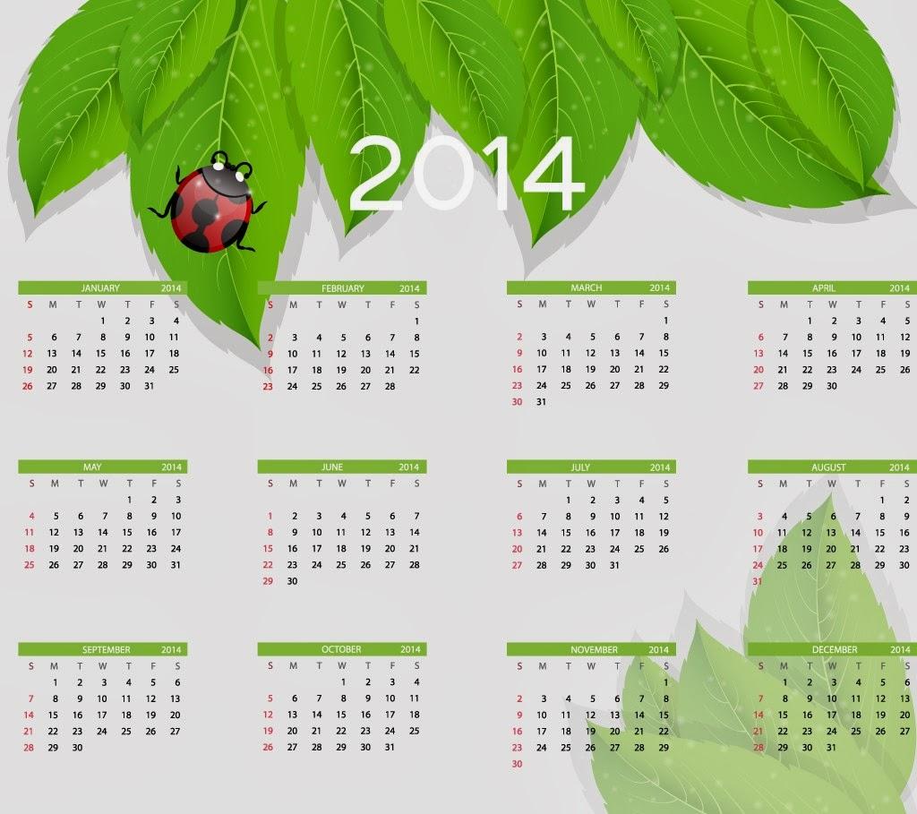 Leaf 2014 year HD Calendar