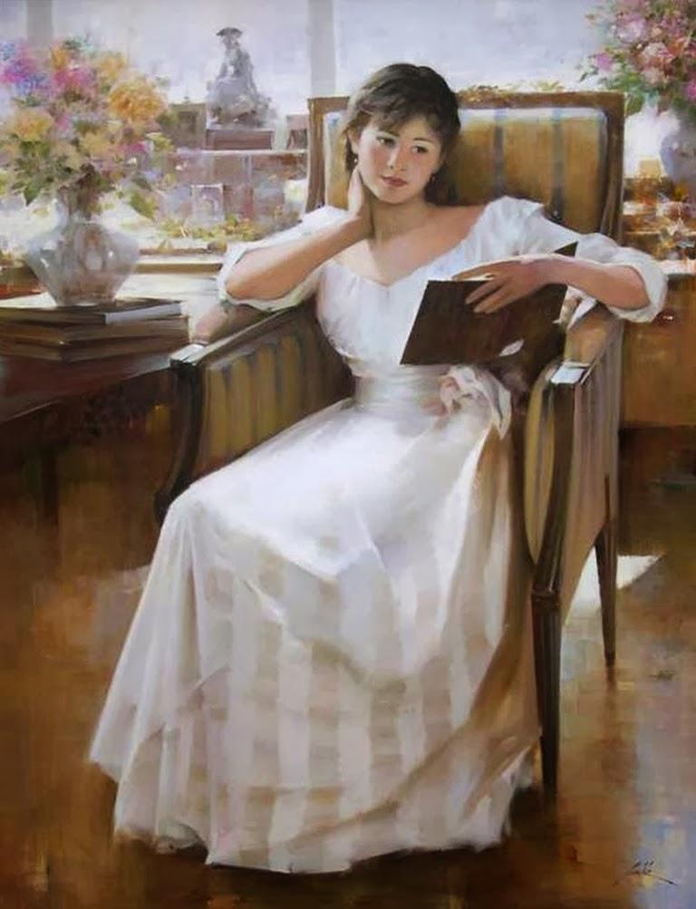 retratos-al-oleo-mujeres-vestidas-de-Blanco