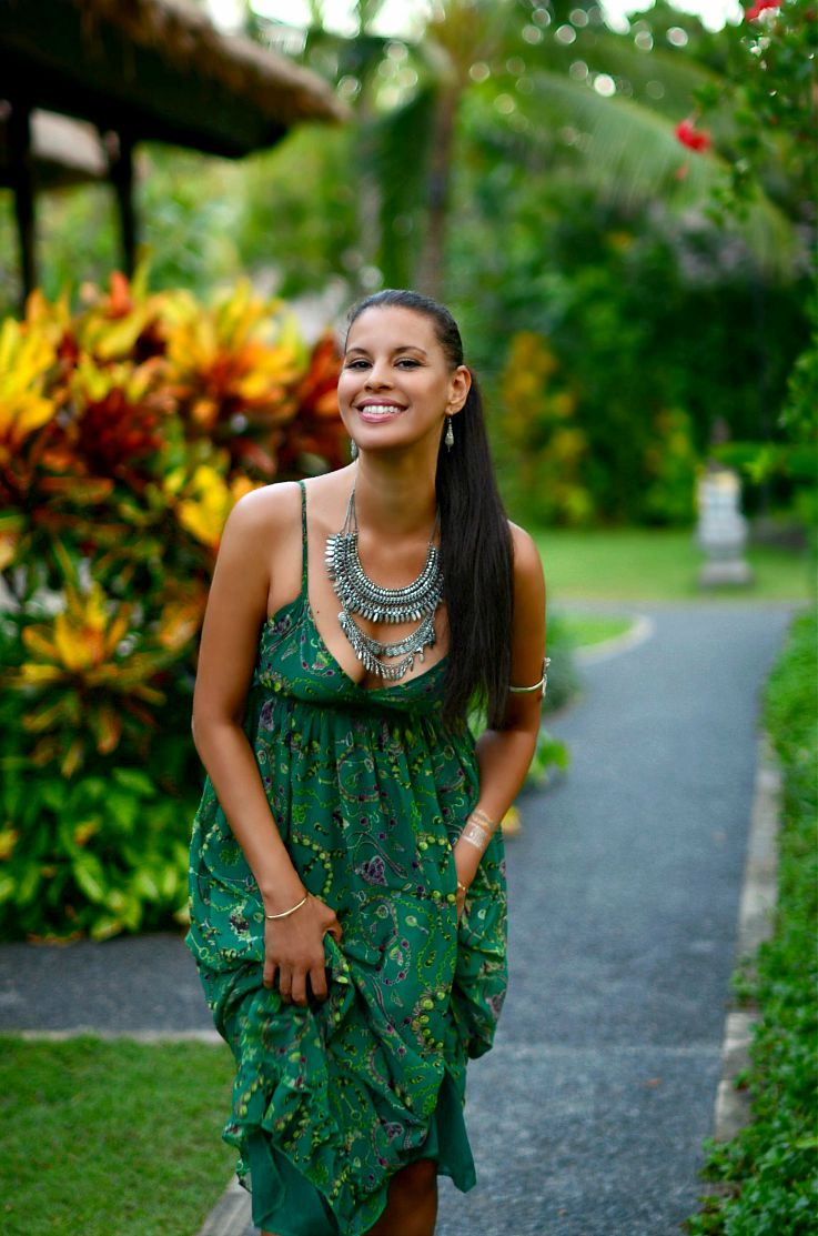 Bali, Indonesia, LookBook Store Green printed maxi dress, Coin necklace, Myca Couture, Legian Beach hotel, Flash tattoo, Tamara Chloé, TC Style Clues
