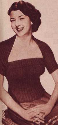 Free 1950's Knitting pattern for a womens Sunflower Tube Top & Bolero