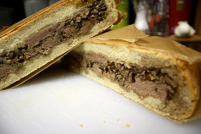 Shooter's Sandwich - a loaf of bread packed with steaks and mushrooms and then pressed is the perfect thing for picnics