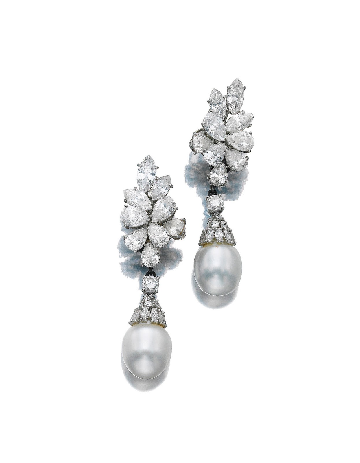 A Pair Of Cultured Pearl And Diamond Ear Clips By Bulgari