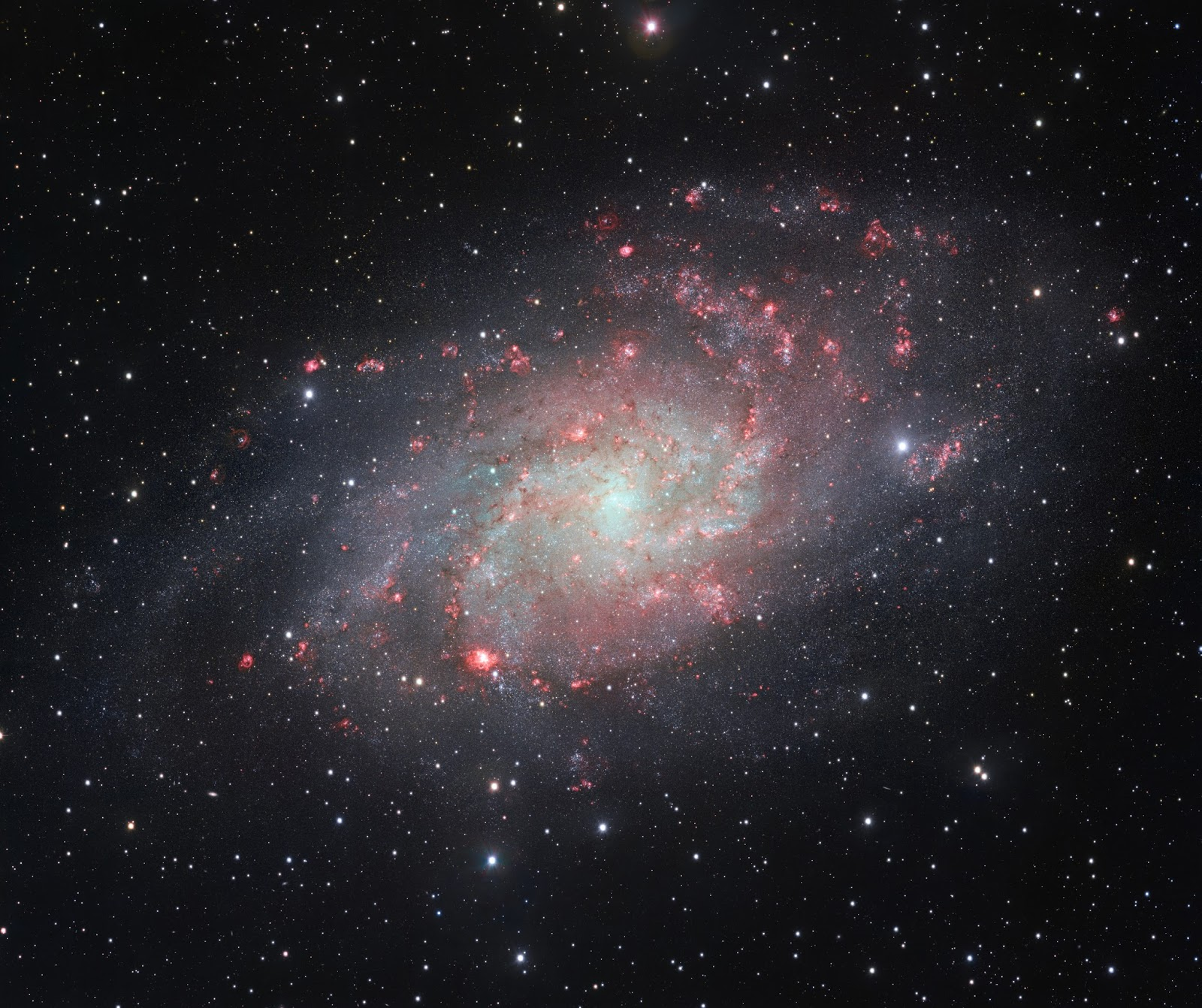 VST snaps a very detailed view of the Triangulum Galaxy VST snaps a very detailed view of the Triangulum Galaxy  The VLT Survey Telescope (VST) at ESO's Paranal Observatory in Chile has captured this beautifully detailed image of the galaxy Messier 33, often called the Triangulum Galaxy. This nearby spiral, the second closest large galaxy to our own galaxy, the Milky Way, is packed with bright star clusters, and clouds of gas and dust. This picture is amongst the most detailed wide-field views of this object ever taken and shows the many glowing red gas clouds in the spiral arms with particular clarity.  Image Credit: ESO Explanation from: http://www.eso.org/public/images/eso1424a/