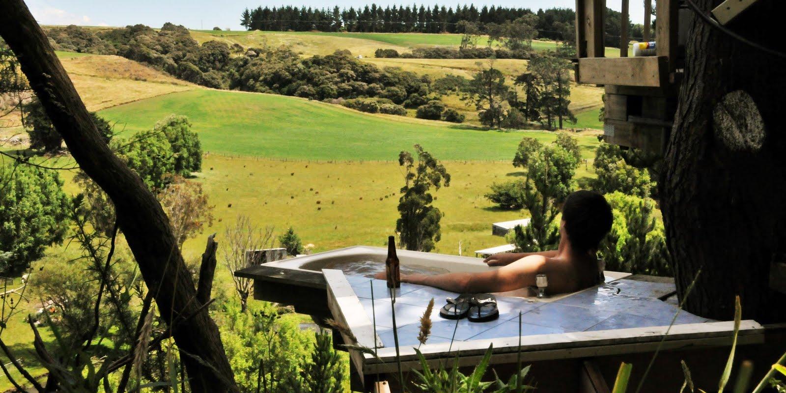 Bath tub in a tree house