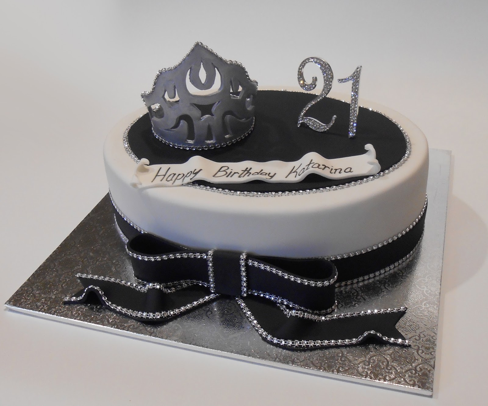 Nadas Cakes Black White Bling Birthday Cake By Nadas Cakes