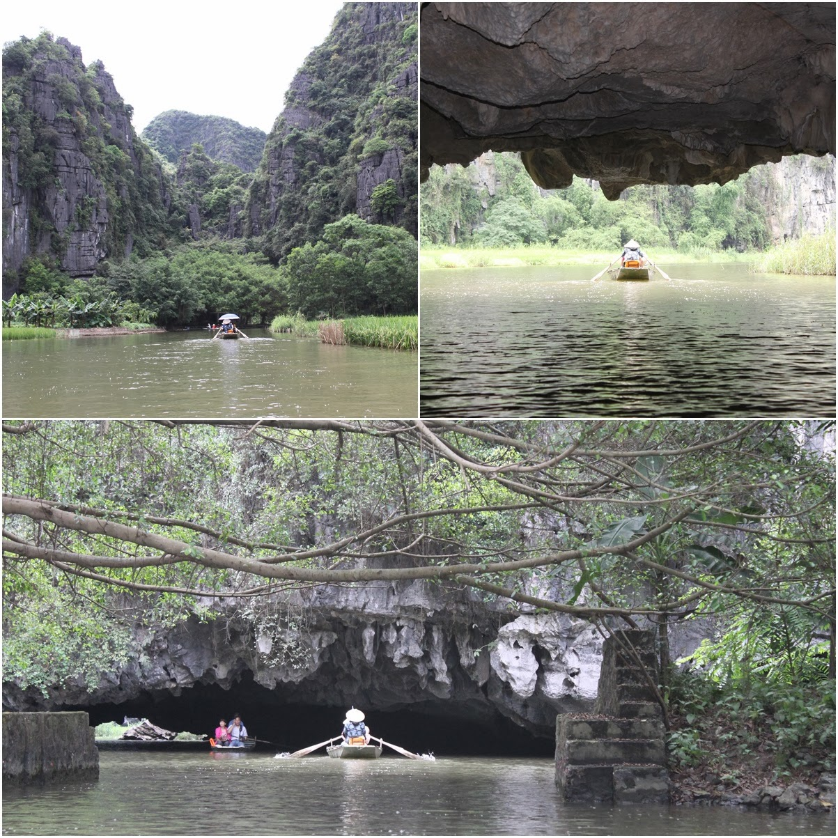 Heading into the tiny entrance of second cave, Hang Giua cave to see the unique rock formation at Tam Coc near the city of Ninh Bình in northern Vietnam
