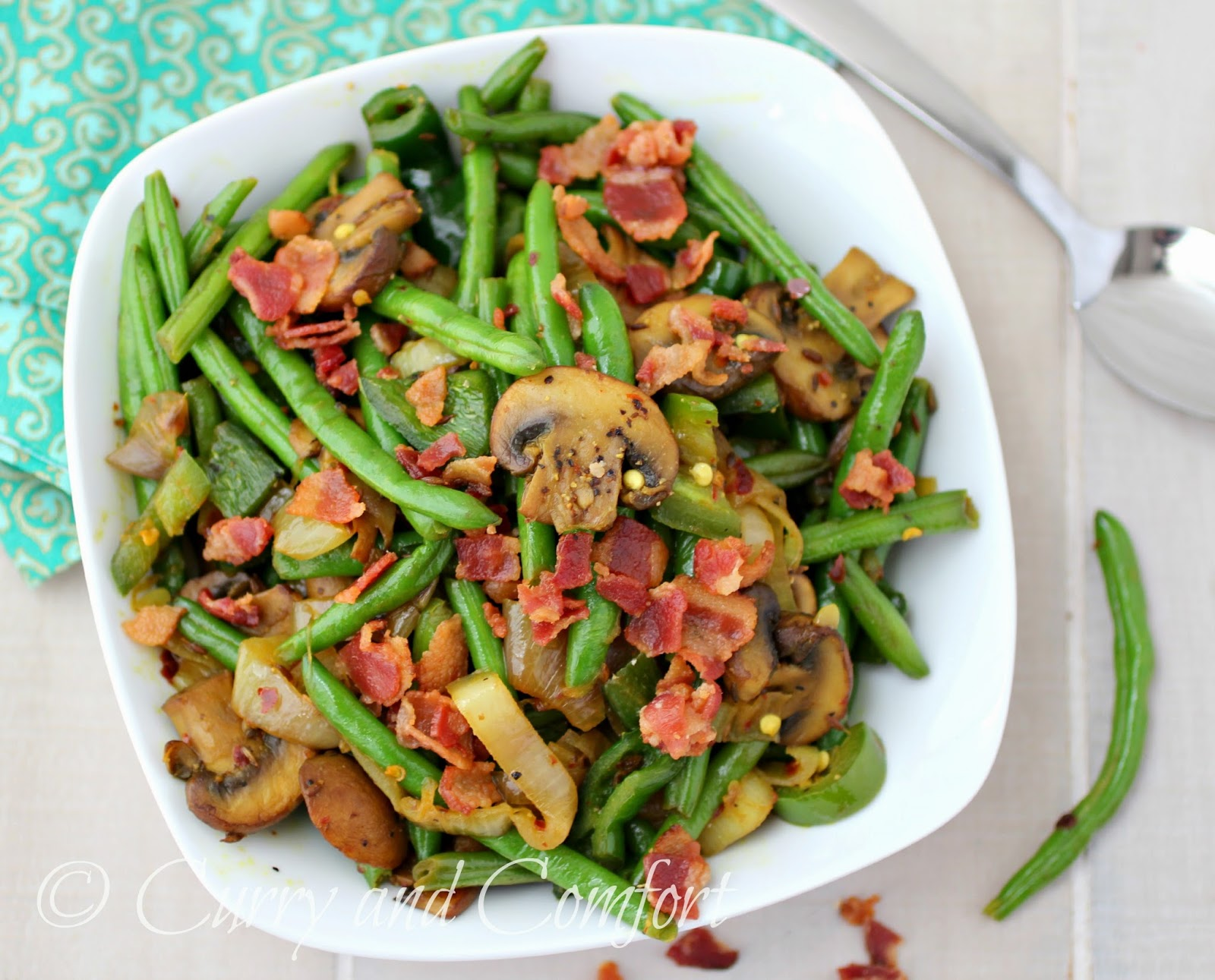 Kitchen Simmer: Green Beans with Bacon and Mushrooms
