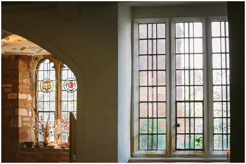 Stained glass windows in wedding venue