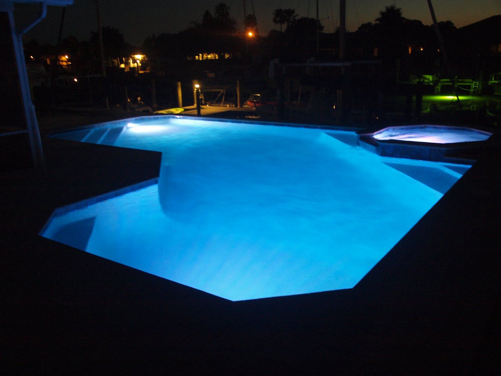 Swimming Pool Fixtures : The new blue pool first swim night lights