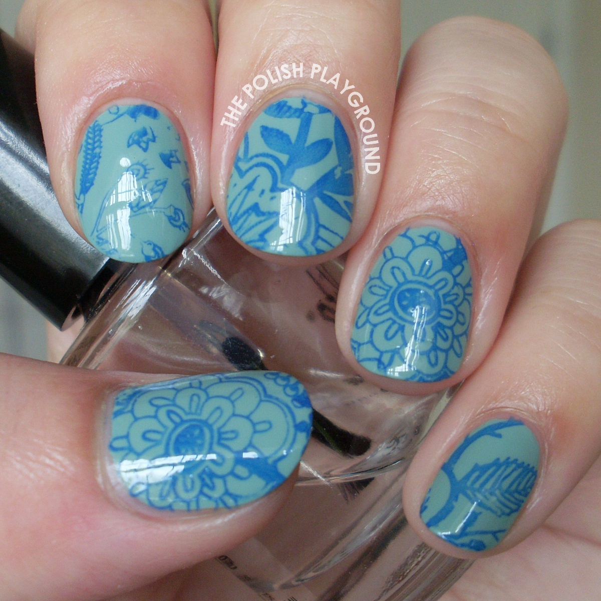 Blue Floral Stamping Nail Art