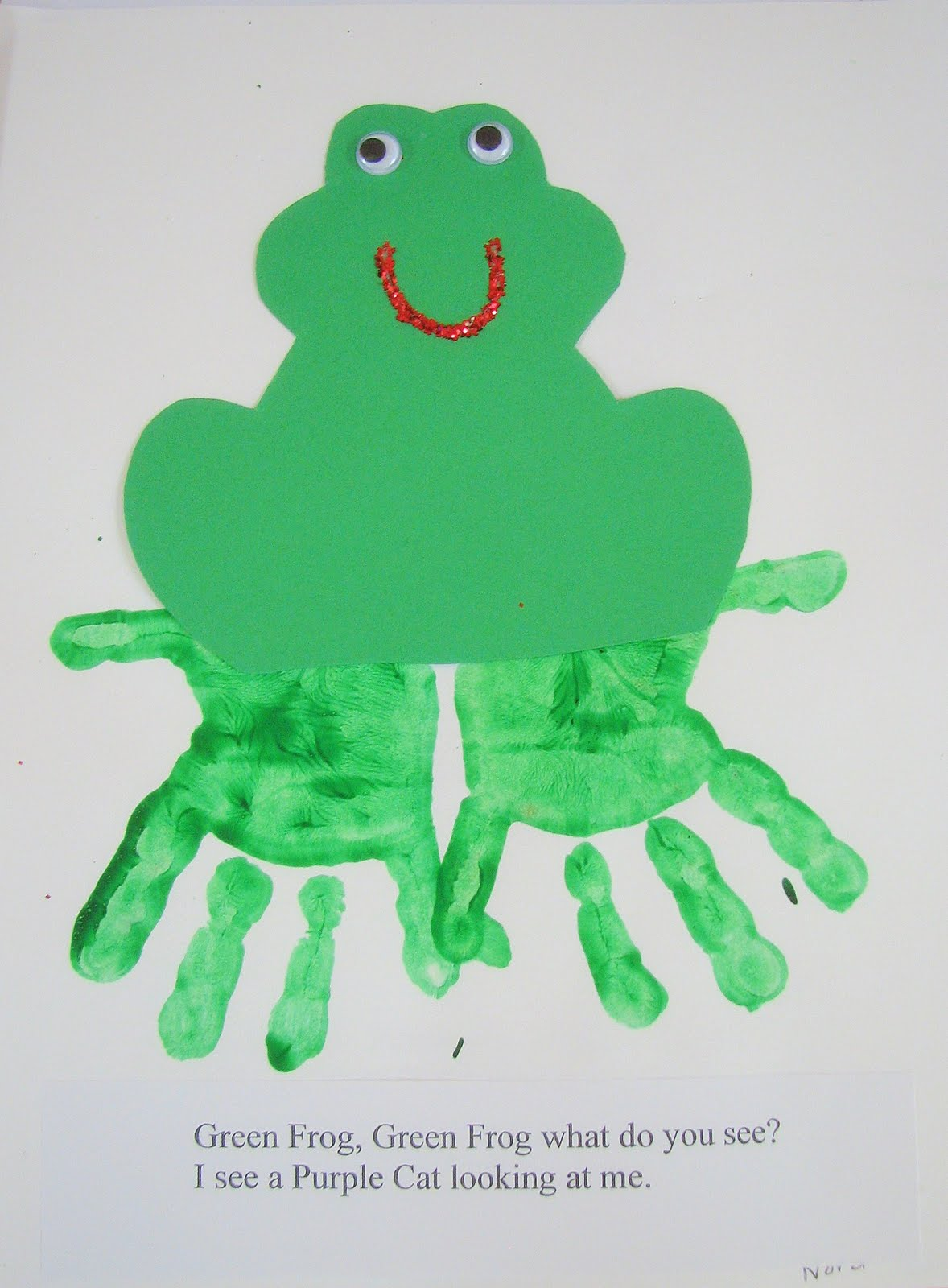 Preschool ideas for 2 year olds brown bear hand print book for Frog crafts for preschoolers