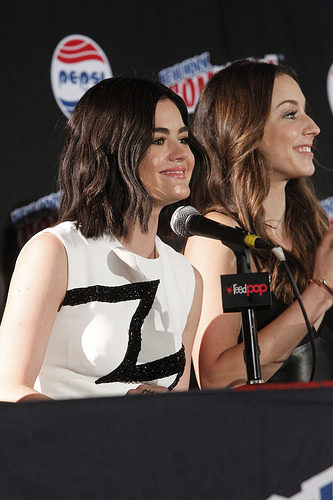Lucy Hale and Troian Bellisario at New York Comic Con