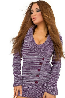 sexy purple button sweater dress