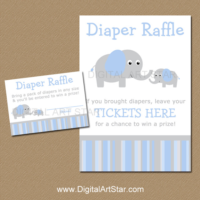 Baby Shower Diaper Raffle with Elephants in Blue & Grey