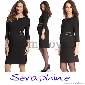 Crown Princess Victoria wore a new Seraphine Black Zip Detail Maternity Dress