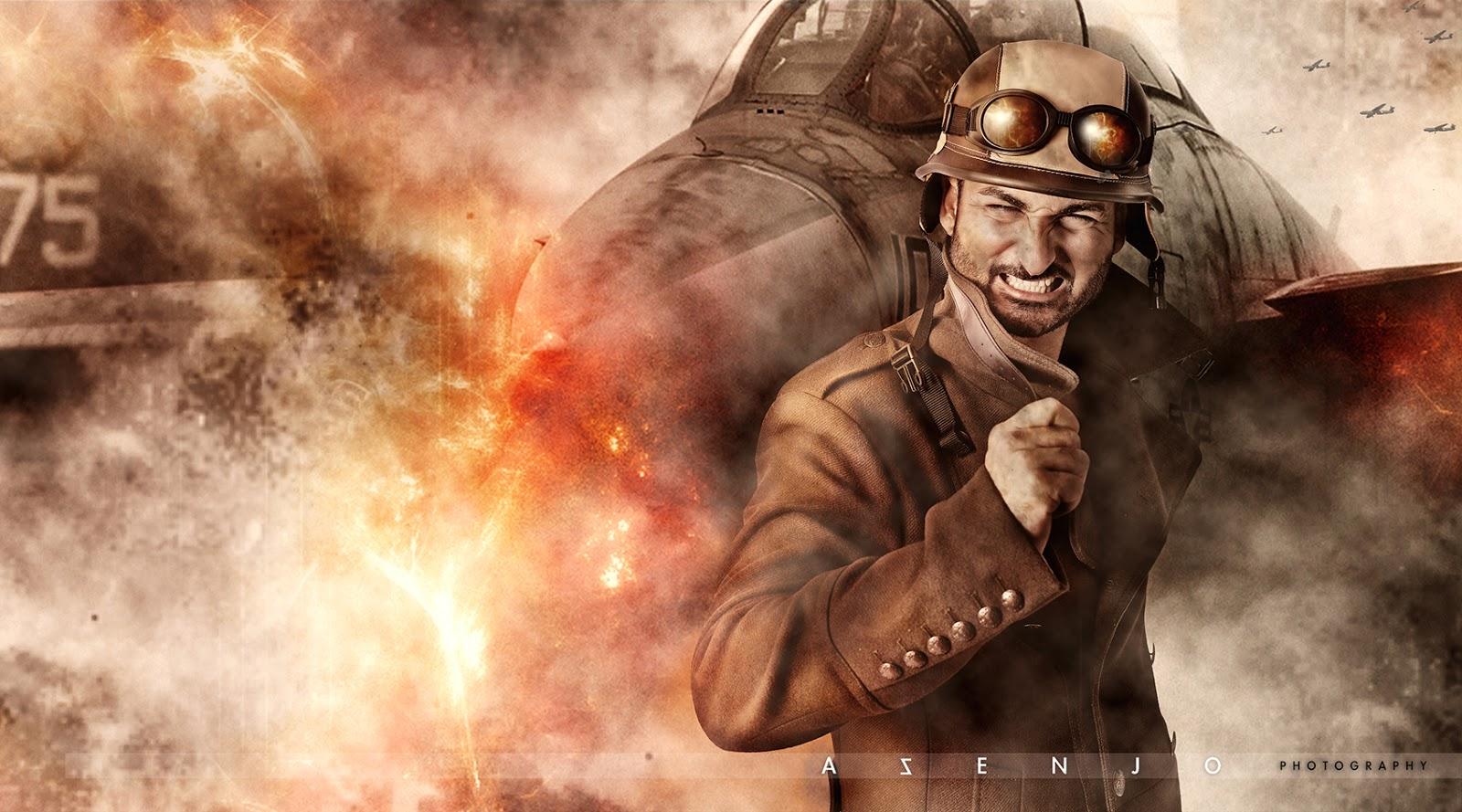 aviador junto a avión en llamas que acaba de explotar