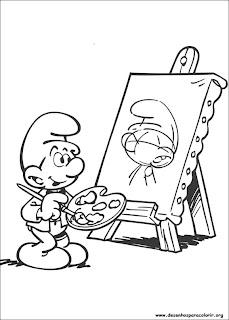 Desenhos dos Smurfs para colorir e pintar