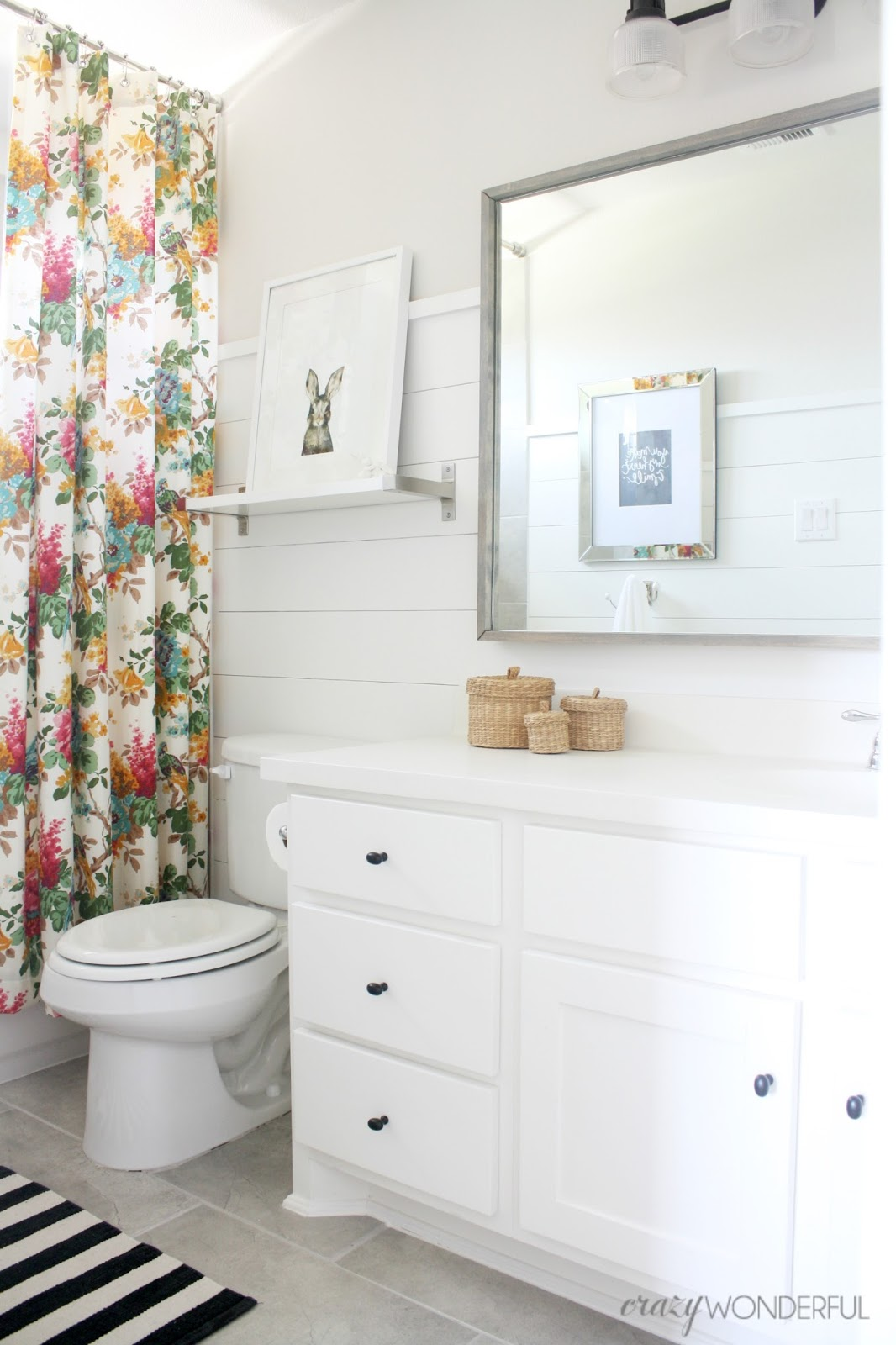 Crazy wonderful shiplap girl 39 s bathroom reveal for Girls bathroom ideas