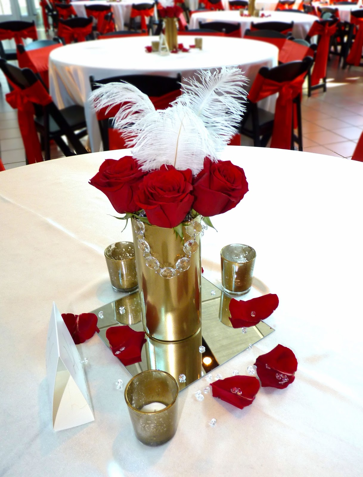 We Finished The Tables Off With 3 Gold Mercury Glass Votives And Sprinkles Of Red Petals Diamond Jewels