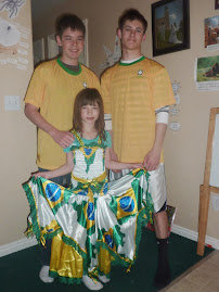 Brazil shirts and Katie a dress from Chris' trip to Brazil in