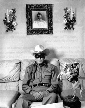 "Clayton Moore, the ""Lone Ranger"", at his home in Las Angeles, CA, in 1992."