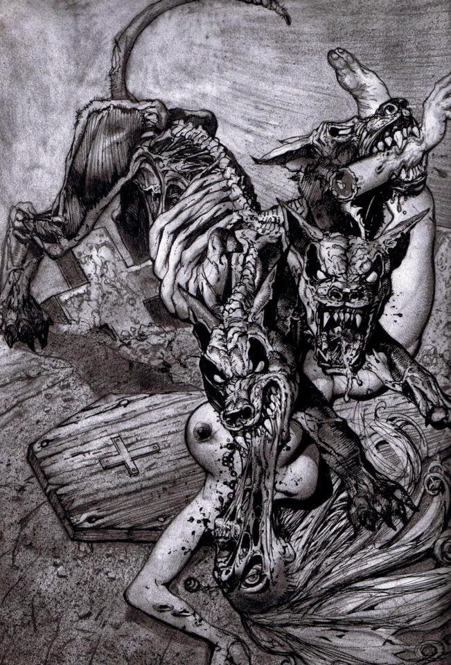 Dessin de Simon Bisley représentant un chien démon à trois têtes dévorant une femme nue en noir et blanc