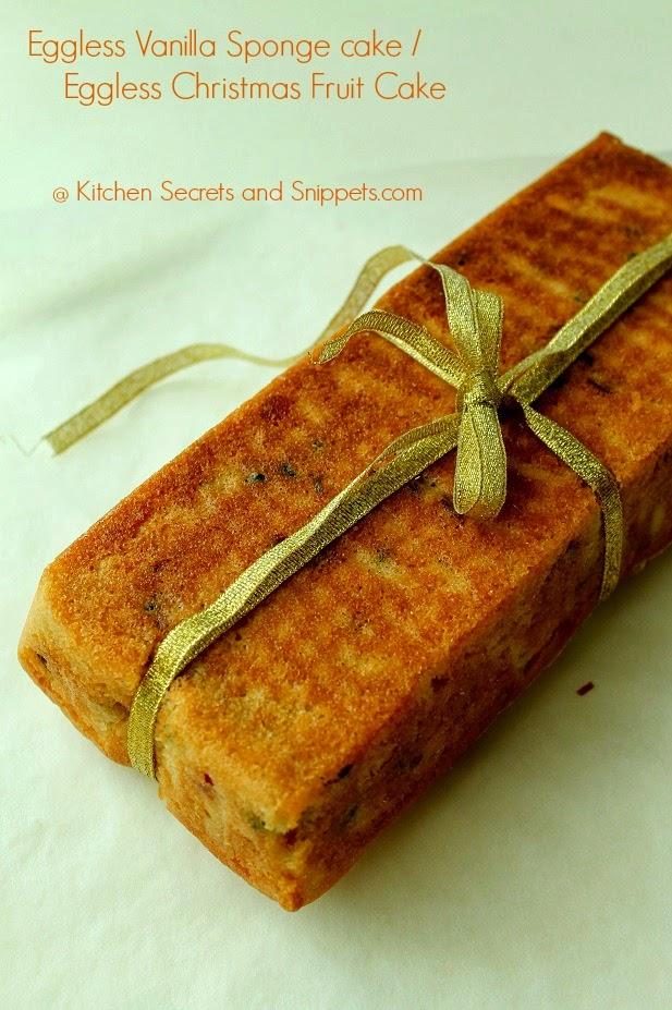 eggless vanilla sponge cake / eggless christmas fruit cake