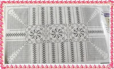 Gráfico Tapete de Crochê em ponto alto relevo com flor