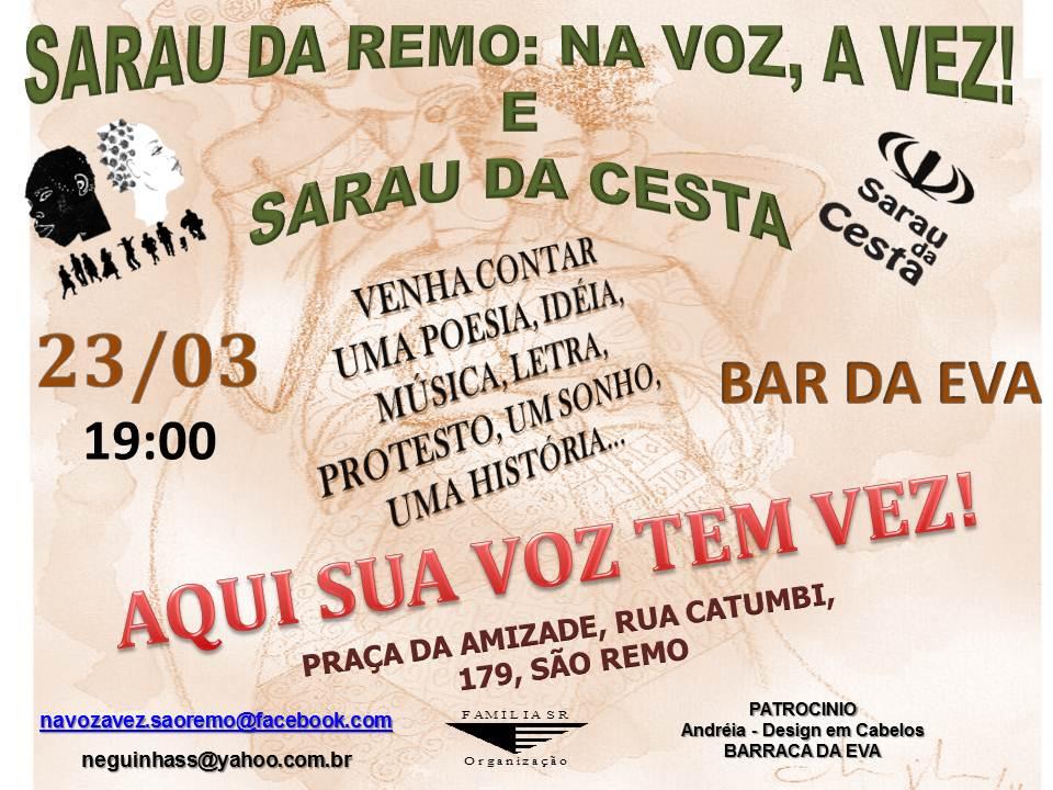 Sarau da Remo dia 23 (sábado) às 19h no bar da Eva = Portão USP/ São Remo