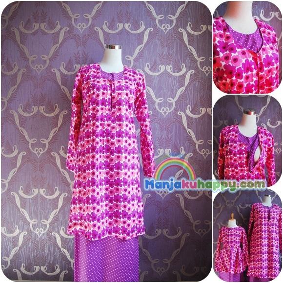 Baju Kurung Pahang Menyusu Sedondon dengan anak Purple Pink Orchid